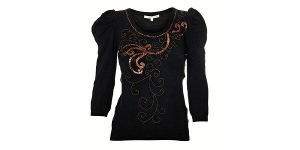 Dámský černý svetřík Uttam Boutique s korálkovou výšivkou