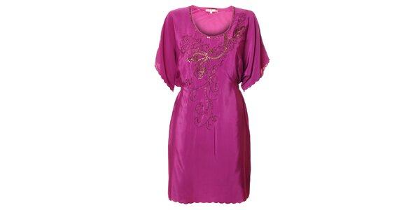 Dámské fuchsiové šaty Uttam Boutique s korálkovou výšivkou