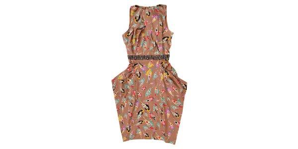 Dámské letní šaty Uttam Boutique v barvě cappuccina
