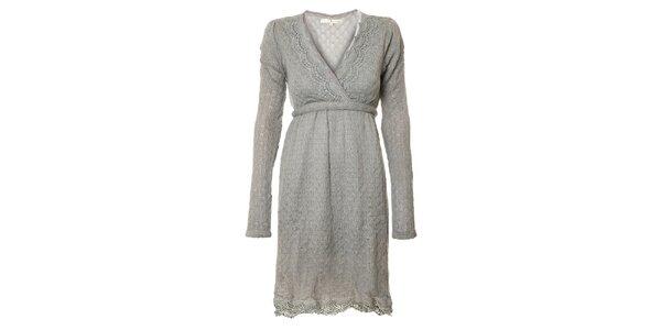 Dámské světle šedé pletené šaty Uttam Boutique