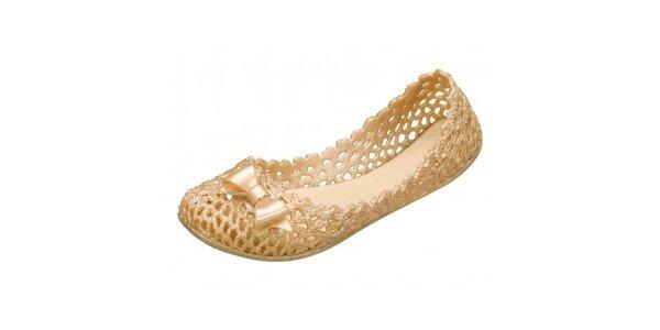 Dámské zlaté perforované baleríny Mel