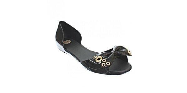 Dámské černé sandály Mel s pevnou patou a zlatými aplikacemi