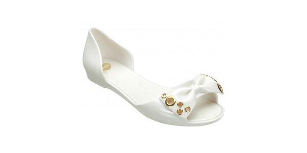Dámské bílé sandály Mel s pevnou patou a zlatými aplikacemi