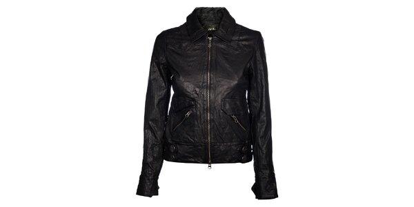 Dámská černá kožená bunda Pepe Jeans v mačkavém efektu