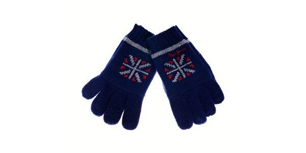 Dětské tmavě modré rukavice Pepe Jeans s norským vzorem