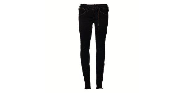 Dámské černé elastické džíny Pepe Jeans se zipy
