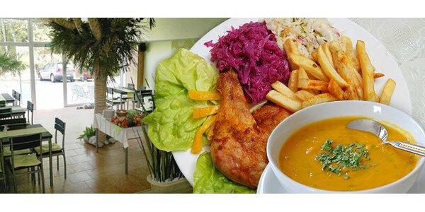 85 Kč za DVA poctivé obědy a polévky v restauraci Pod Palmou ve Zlíně
