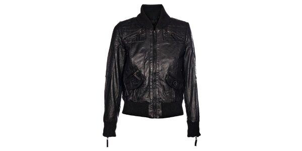 Dámská černá kožená bunda Pepe Jeans