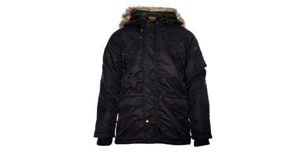 Pánská černá bunda Pepe Jeans s kožíškem