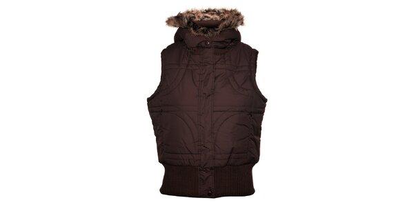 Dámská tmavě hnědá prošívaná vesta Trimm s kožíškem
