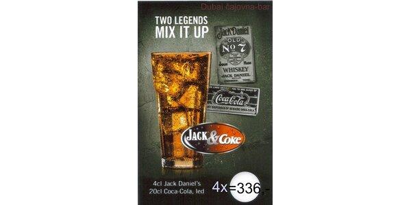 336 Kč za 4x Jack Daniels & Coca Cola v Dubai čajovna bar v hodnotě 480 Kč