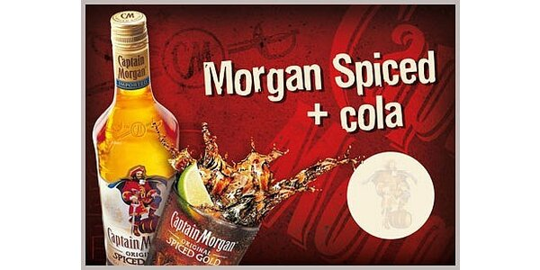 99 Kč za 2x drink Captain Morgan 0.04 l + cola 0.2 l + limetka s 38% slevou