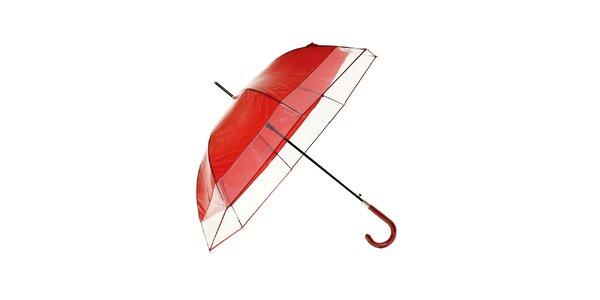 Dámský tmavě červený holový deštník Ferré Milano s transparentním lemem