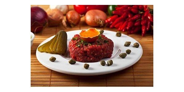 105 Kč za 200g Tatarského bifteku U stříbrného smrku v hodnotě 180 Kč
