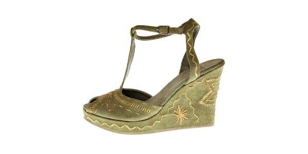 Dámské světle zelené semišové sandály Liu.Jo na vysokém klínku