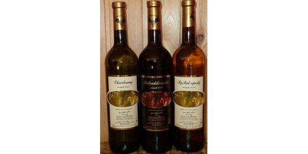 270 Kč za 3 lahve kvalitního moravského přívlastkového vína 0,75l
