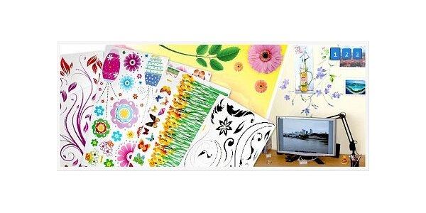 45 Kč za celobarevnou samolepku na stěnu, notebook, sklo k výběru 50 druhů