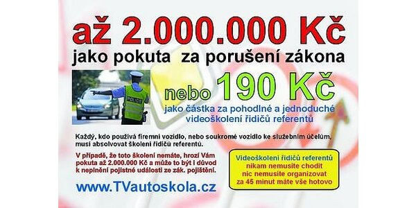 114 Kč za videoškolení řidičů referentů on-line na TVautoskola.cz