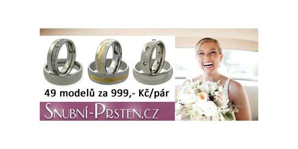 999 Kč za snubní prsteny včetně rytin, krabičky, doručení v hodnotě 3086 Kč