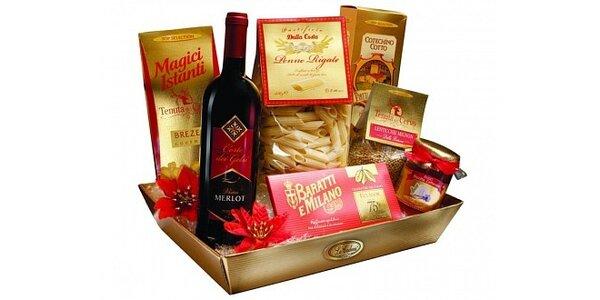 359 Kč za dárkový koš Cesto Tiffany s výběrem italských delikates