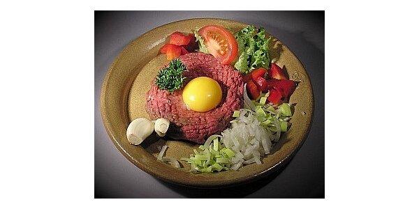 95 Kč za 200g tatarského bifteku z pravé svíčkové v hodnotě 200 Kč