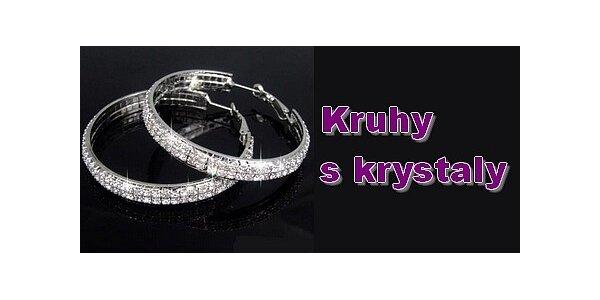 199 Kč za náušnice dvouřadé kruhy s krystaly v původní hodnotě 299 Kč