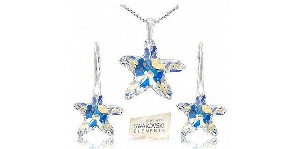 Stříbrná souprava Swarovski Crystal + stříbrný šperkový řetízek