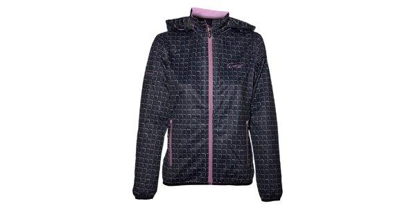 Dámská černá softshellová bunda Envy s barevným potiskem a metalický odleskem