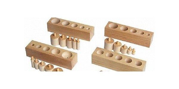 Montessori válečky s úchyty - pomůcka pro děti -zmenšená verze