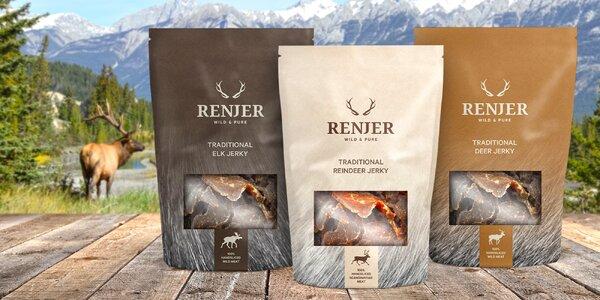 Ručně vyráběné jerky ze Švédska: jelen, los i sob
