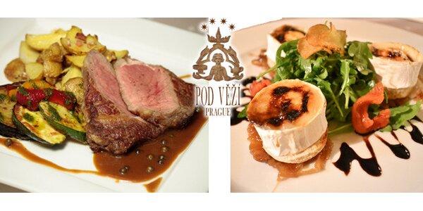 Úžasná gurmánská večeře pro dva v restaurantu Pod Věží!
