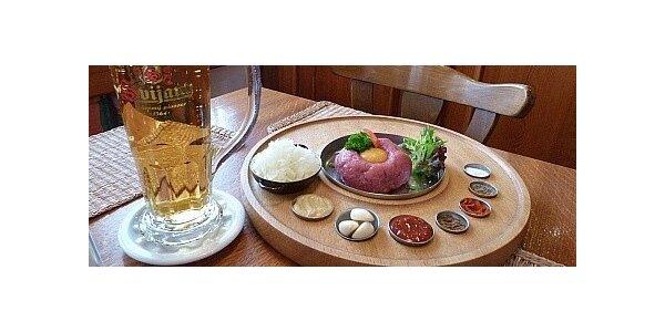 150g tatarský biftek a Svijanský máz