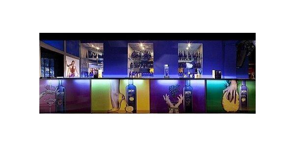 1l láhev prémiové americké Skyy vodky s pěti energy drinky