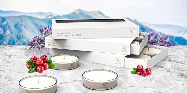 Čajové svíčky: svěží vůně, levandule i brusinka