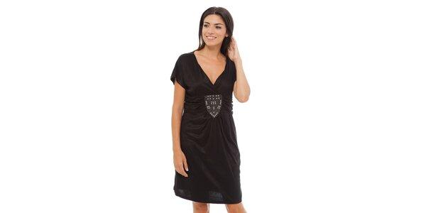 Dámské černé šaty Ada Gatti s kovovou aplikací