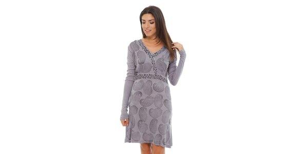Dámské světle šedé šaty Ada Gatti s ornamentálním potiskem