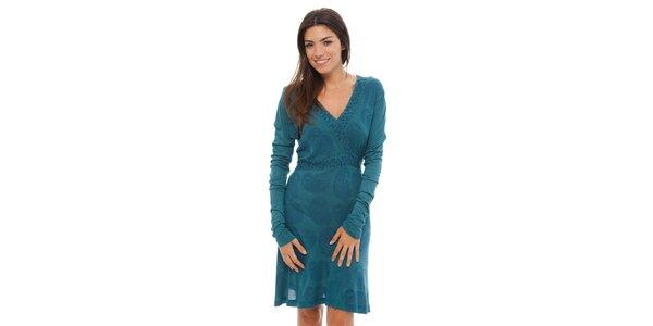 Dámské zelenomodré šaty Ada Gatti s ornamentálním potiskem