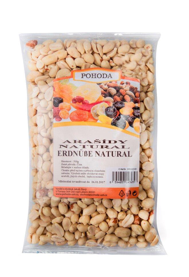 Arašídy natural, 500 g