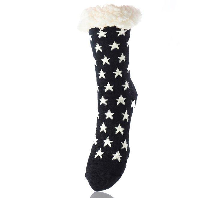 Dámské teplé ponožky, bílé hvězdy