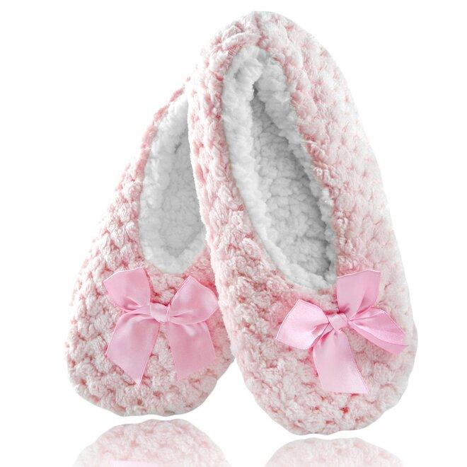 Dámské teplé papuče z ovčí vlny - s mašlí