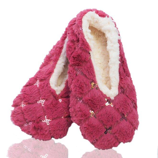 Dámské teplé papuče z ovčí vlny s třpytkami