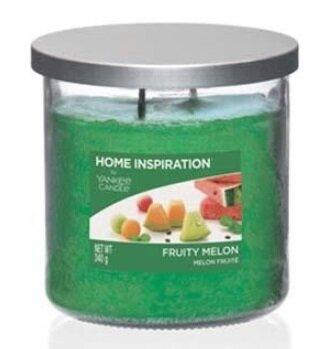 Yankee Candle Fruity Melon 340 g + svíčka Vyšisovaná meruňková růže, 49 g
