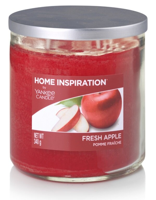 Yankee Candle Fresh Apple 340 g + svíčka Vyšisovaná meruňková růže, 49 g