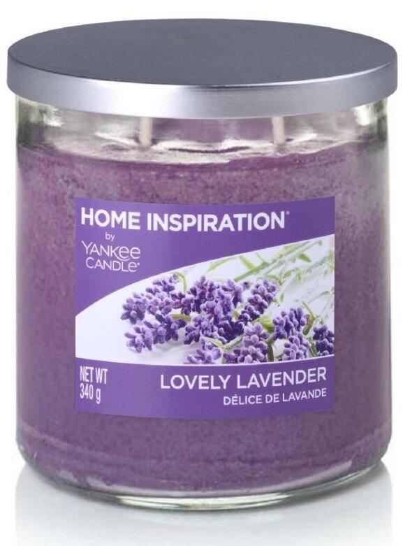 Yankee Candle Lovely Lavender 340 g + svíčka Vyšisovaná meruňková růže, 49 g