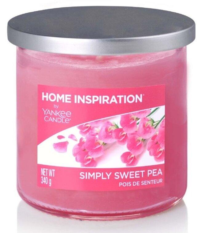 Yankee Candle Simply Sweet Pea 340 g + Svíčka Vyšisovaná meruňková růže, 49 g