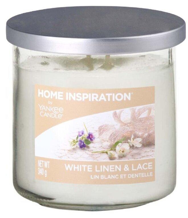 Yankee Candle White Linen & Lace 340 g + svíčka Vyšisovaná meruňková růže, 49 g