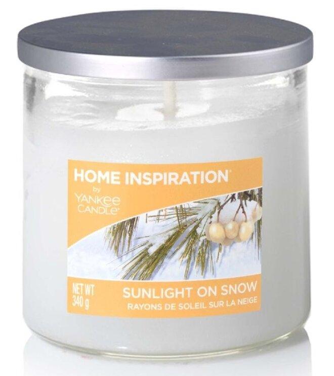 Yankee Candle Sunlight on Snow 340 g + svíčka Vyšisovaná meruňková růže, 49 g