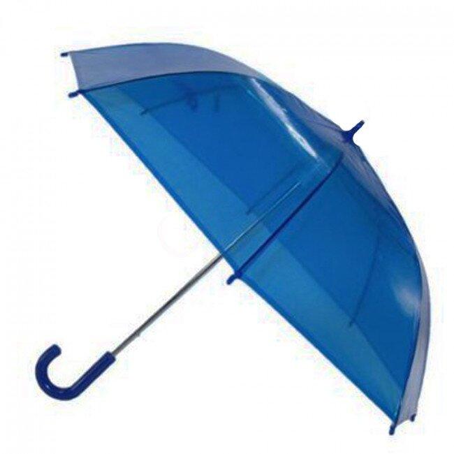Transparentní poloautomatický deštník – modrá