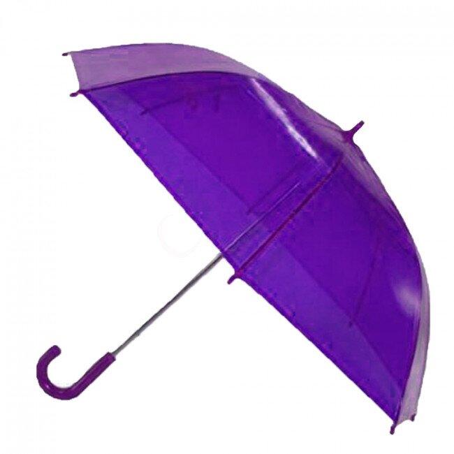 Transparentní poloautomatický deštník – fialová