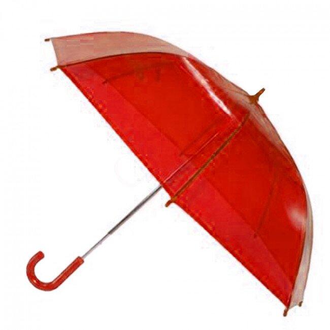 Transparentní poloautomatický deštník – červená